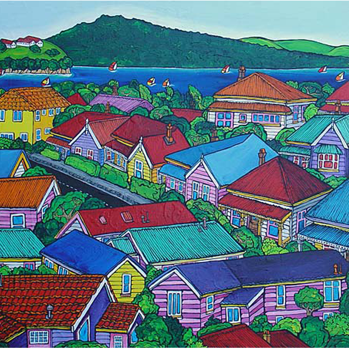 Our neighbourhood painting by New zealand artist Fiona Whyte, NZ Art