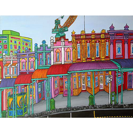 Queens St painting by New zealand artist Fiona Whyte, NZ Art