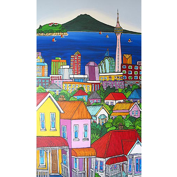 Auckland City Sky Tower painting by New zealand artist Fiona Whyte, NZ Art