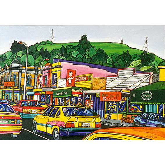 Mt eden, Auckland painting by New zealand artist Fiona Whyte, NZ Art