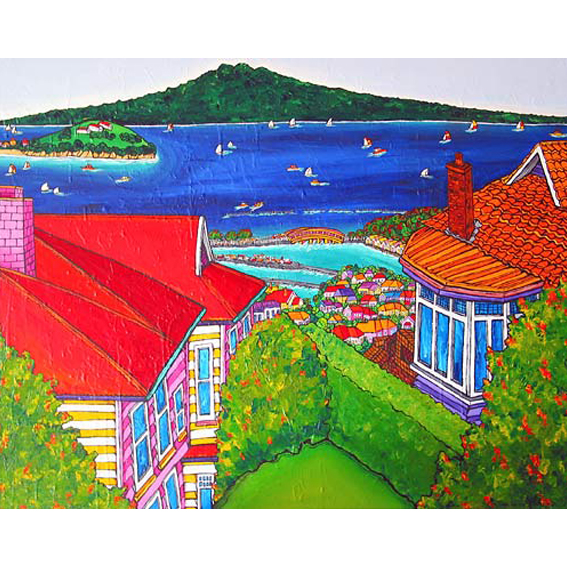 Red roof with views painting by New zealand artist Fiona Whyte, NZ Art
