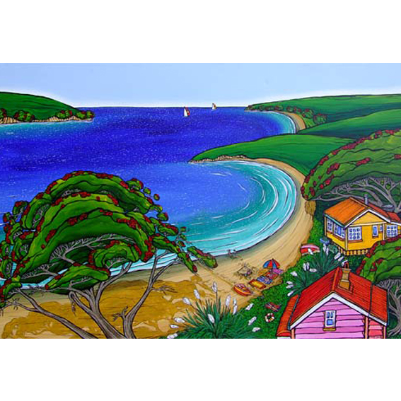Beach views painting by New zealand artist Fiona Whyte, NZ Art