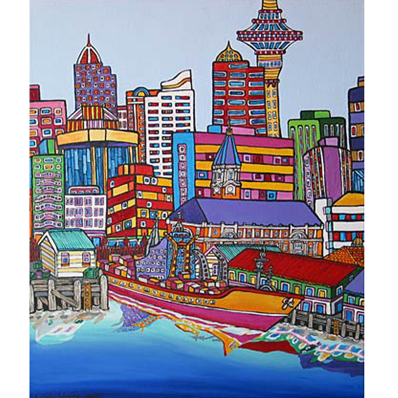 Auckland city Fairy building painting by New zealand artist Fiona Whyte, NZ Art