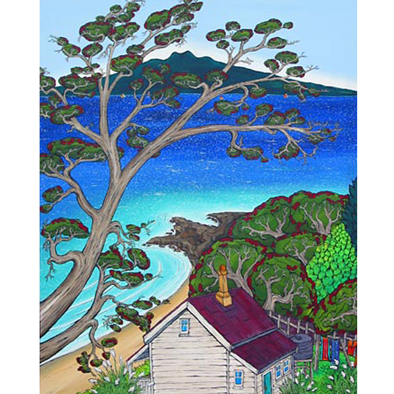 Pohutakawa Tree, Beach painting by New zealand artist Fiona Whyte, NZ Art