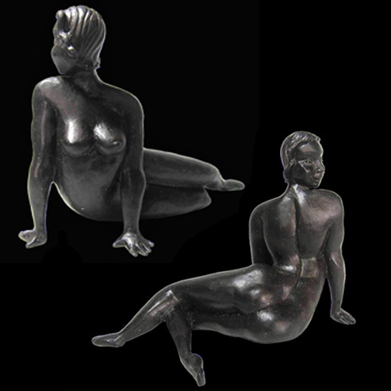NZ artist Bronze Sculpture flirtation